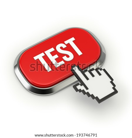 Red test button with metallic border on white background