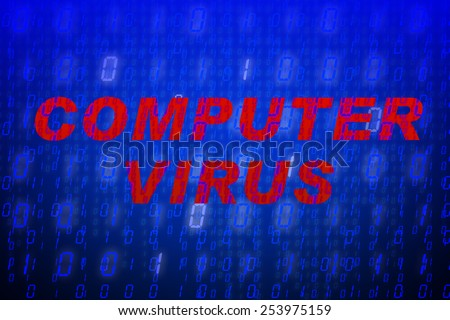 """Red text """"Computer Virus"""" in front of blue binary code background, concept for data protection, internet security, computing, world wide web or cyber attacks - stock photo"""