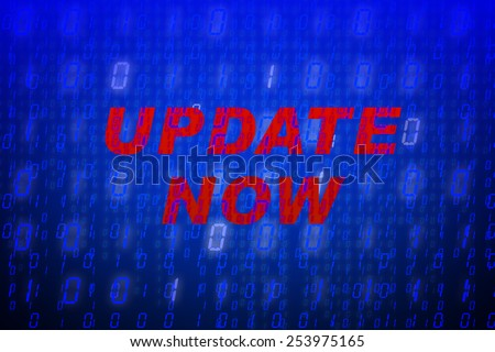 """Red text """"Update Now"""" in front of blue binary code background, concept for data protection, internet security, computing, world wide web or cyber attacks - stock photo"""