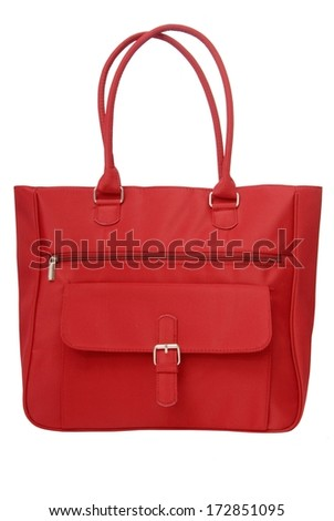 red textile carrier bag - stock photo