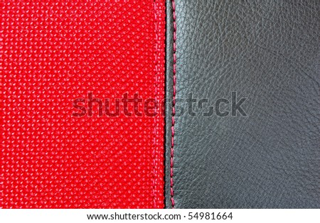 red textile sewing black leather - stock photo