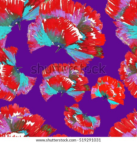 red texture poppies pattern on violet
