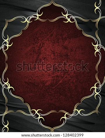 Red texture with black edges with gold trim. - stock photo