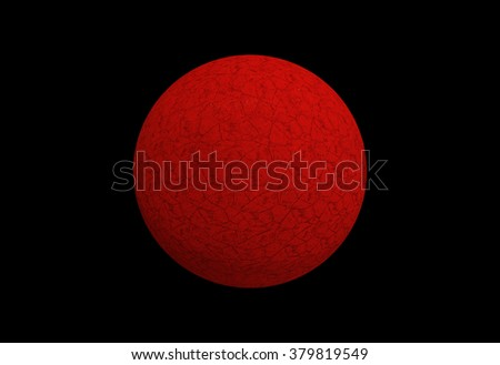 Red textured circle isolated on black background, Planet Mars Symbol - stock photo