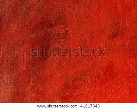 Red textured oil on canvas painting background. - stock photo