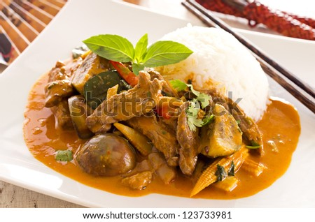 red thai curry with beef and vegetables - stock photo