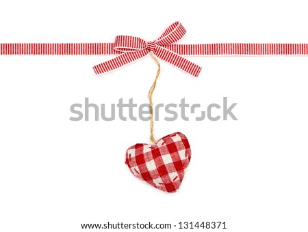 red the white ribbon in a strip, a bow and the checkered heart, isolated on  white background - stock photo