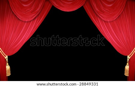 red theater curtain - stock photo