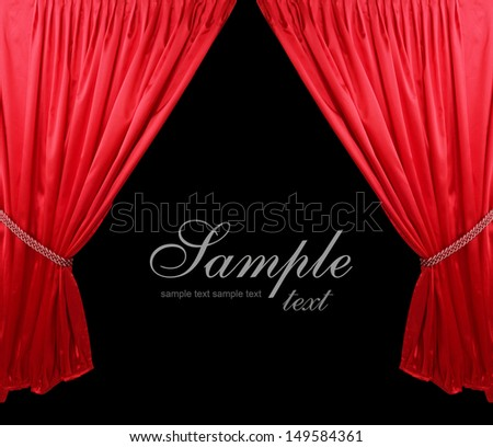 Red theater curtain background - stock photo