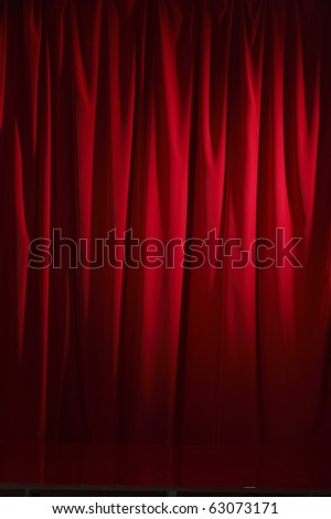 Red theater curtain for Stage show presentation concept - stock photo