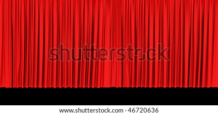 Red theater curtain isolated on black  background - stock photo