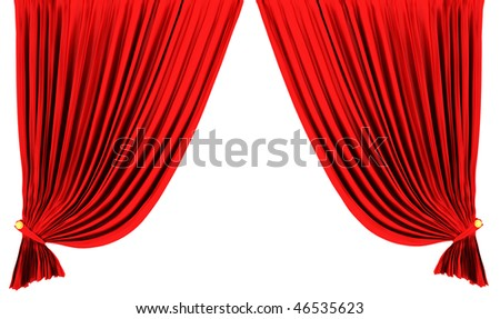 Red theater curtain isolated on white background - stock photo