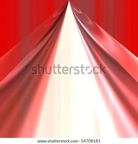 red theater curtain opening over white background - stock photo