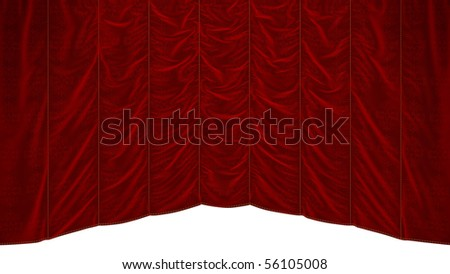 Red theater Curtain with beautiful textile pattern. Extralarge resolution - stock photo
