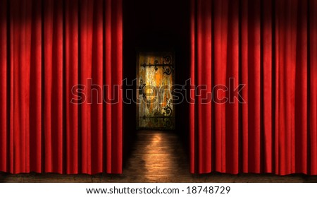 Red theater curtain with door and dark shadows - stock photo