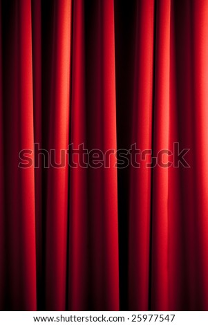 red theater curtain with irregular relief - stock photo