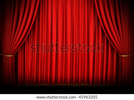 Red theater curtain with spot lights - stock photo