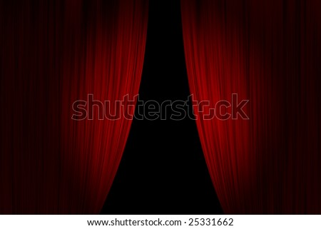 Red theater curtains opened - stock photo