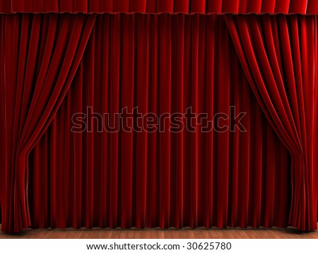 Red theater curtains. Realistic illustration of velvet curtains. - stock photo