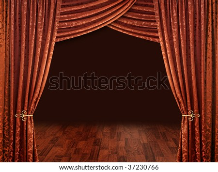 Red theater stage curtains brown wooden floor and dark background - stock photo
