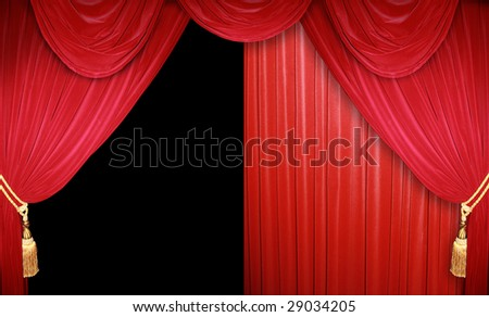 red theatre curtain - stock photo