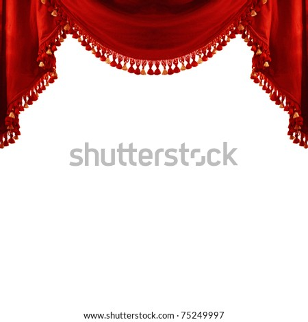Red theatre curtain isolated on white background - stock photo