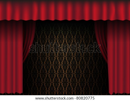 Red Theatre Curtain - Vintage Wallpaper in Background