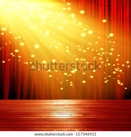 red theatre curtain with a spotliight on it - stock photo