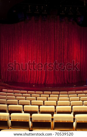 Red theatre stage curtain - stock photo
