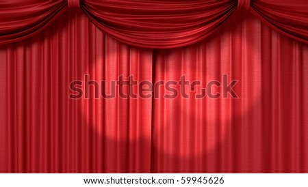 red theatrical curtain with spotlights - stock photo