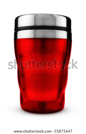 Red thermic mug isolated on white, Clipping path included. - stock photo