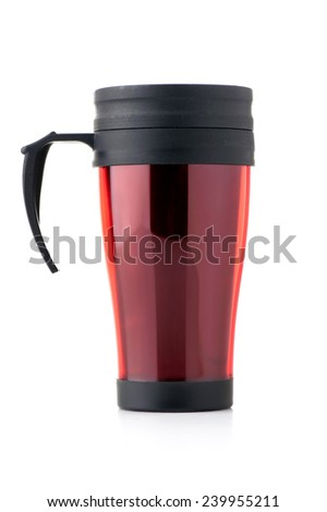 Red thermo cup isolated on white - stock photo