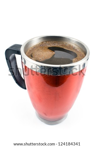 Red thermos cup with coffee drink  isolated on white - stock photo