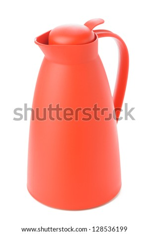 Red thermos  isolated on white background - stock photo