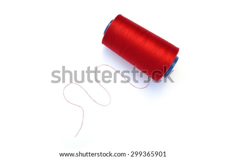 Red thin thread  set on white background