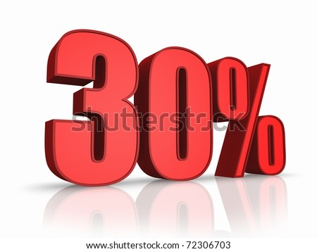 Red thirty percent, isolated on white background. 30% - stock photo