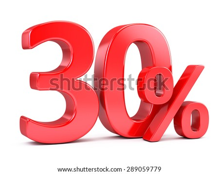 Red Thirty percents discount isolated on white - stock photo