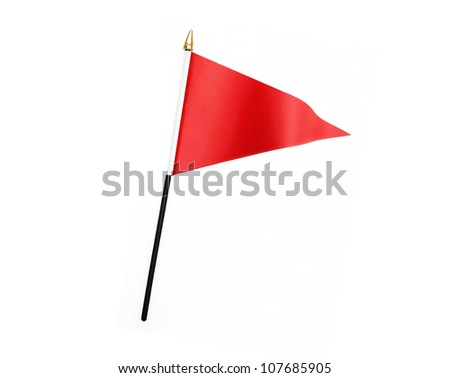 Red three cornered flag isolated on white background