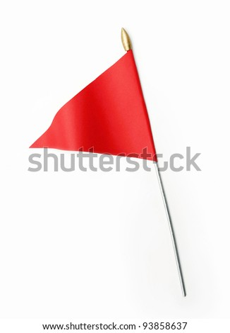 Red three cornered flag isolated on white background - stock photo