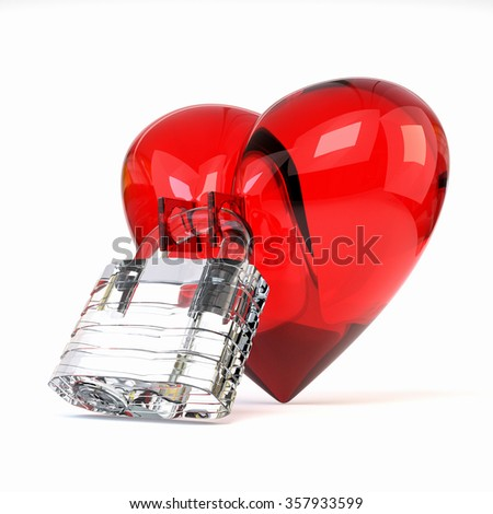 Red three-dimensional heart with crystal padlock isolated on white background. 3d illustration.