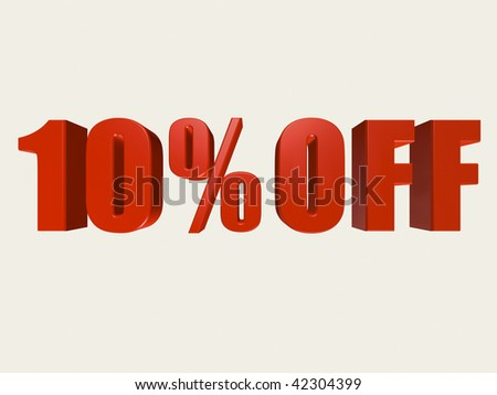 Red three dimensional 10% Off Sale sign against a white background. - stock photo