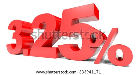 Red three point two five percent off. Discount 3.25 percent. 3D illustration.