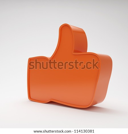 red thumbs up symbol on grey background with highlights - stock photo