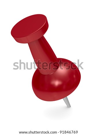 Red thumbtack on white background. Isolated 3D image - stock photo