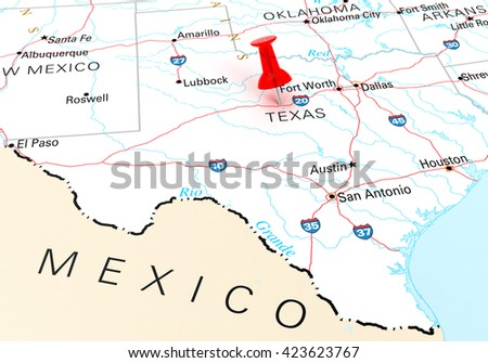 Red Thumbtack Over Texas State Usa Stock Illustration - Texas state usa map