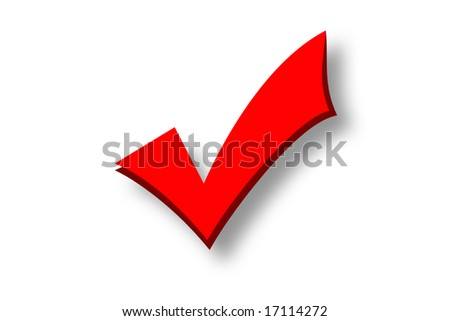 Red tick isolated over a white background