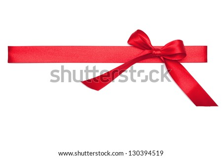 Red Tie from present ribbon. Isolated on white background.