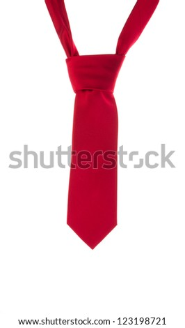 Red tie isolated on white background