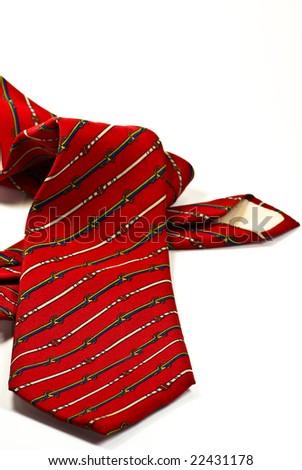 red tie on white - stock photo
