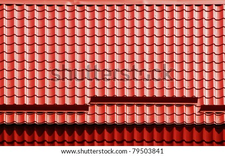 Red tile on roof - stock photo